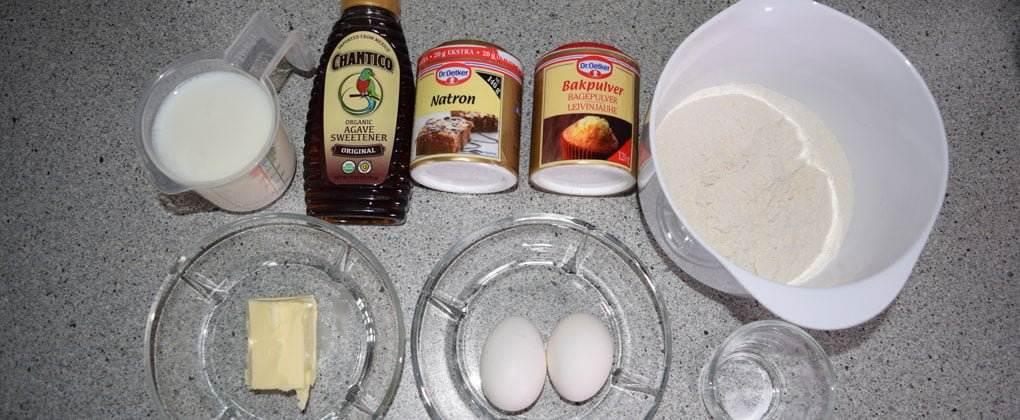 Ingredienserne til amerikanske pandekager